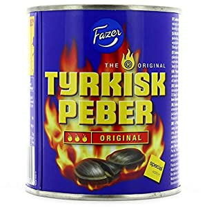 Fazer Original Liquorice TRAVELLER EXCLUSIVE. A tin can full of fire! These salmiac sweets fired up with a strong pepper filling can make your socks roll up and down! Warning: don't play with fire! 1 Box of 375g