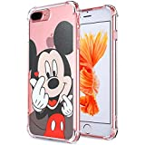 Logee Mickey Mouse TPU Cute Cartoon Clear Case for iPhone 8 Plus/7 Plus 5.5,Fun Kawaii Animal Soft Protective Cover,Ultra-Thin Shockproof Funny Character Cases for Kids Teens Girls Boys (8Plus)