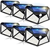 Solar Lights Outdoor 6 Pack, 100LED/3 Modes 270° Lighting Angle Motion Sensor Security Lights, Wireless IP65 Waterproof Wall Lights Solar Powered, Bright for Backyard Garden Fence Patio Front Door