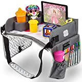 Kenley Kids Travel Tray, Toddler Car Seat Lap Tray, 16.5 x 13.5 Inches (Pink/Gray)