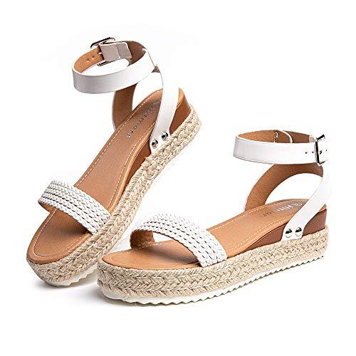 Sandalias Mujer Plataforma Alpargatas Cuña Verano Zapatos de Tacón Punta Abierta Comodas Vestir Correa Tobillo Hebilla Blanco-1 39 EU