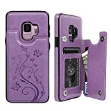 Galalxy S9 Wallet Case with Card Holder, Premium PU Leather Kickstand Card Slots Case, Double Magnetic Clasp and Durable Shockproof Cover for Galalxy S9, Purple