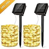 [Lot de 2] Guirlande Lumineuse Exterieur Lampe Solaire, 240LED 17m Étanche...