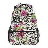 Mochila escolar ADMustwin con estampado de piel de cebra, diseño de flores, de rosa, para viajes, mochila ligera e impermeable, mochila para ordenador...