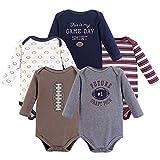 Hudson Baby Unisex Baby Long Sleeve Cotton Bodysuits, Football Season Long Sleeve 5 Pack, 18-24 Months (24M)