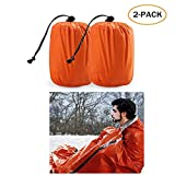 Zmoon Emergency Sleeping Bag - Waterproof Lightweight Thermal Bivy Sack - Survival Blanket Bags Portable Nylon Sack Camping, Hiking, Outdoor, Activities (2 Pack)