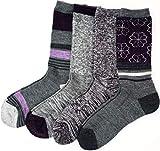 Kirkland Signature Ladies' Trail Socks Merino Wool, 4 Pairs, Charcoal/Purple (Charcoal/Purple)