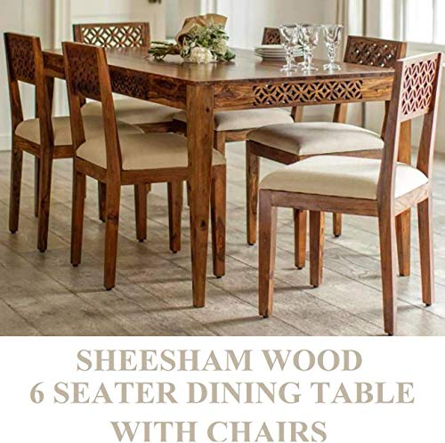Unique Furniture Solid Wooden sheesham Wood 6 Seater Dining Table Set with 6 Chairs for Dining Room (Sheesham Wood, Natural Brown Finish) Wood Dining Table 6 Seater