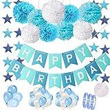 Birthday Decor Blue for First Boy Set: Happy Birthday Bandern Garland Banner con pompones de papel de seda y 30 globos Guirnalda para 1.2.3.5 aos Fiesta de cumpleaos del hijo del nio Decoracin