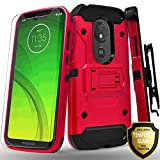 Moto G7 Power Case, Moto G7 Supra XT1955 Case, Moto G7 Optimo Maxx Case, With [Tempered Glass Screen Protector] Full Cover Heavy Duty Dual Layers Phone Cover with Kickstand and Locking Belt Clip-Red