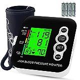Tensiómetro de brazo, OUDEKAY Monitor de Presión con pantalla de LCD, Tensiómetro de Brazo Digital, Brazalete grande de 22-42 cm, Detección de Frecuencia Cardíaca Irregular, 2 x 99 mediciones