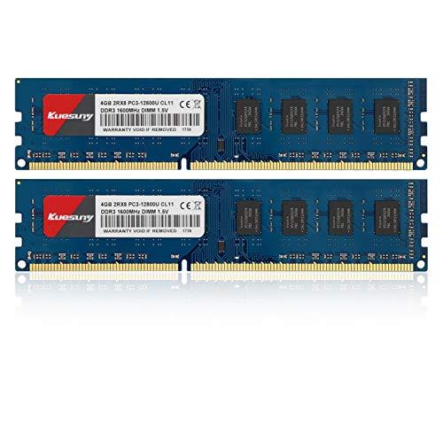 Kuesuny Kit de 8 GB (2 x 4 GB) DDR3 1600 MHz Udimm Ram PC3-12800 PC3-12800U 1.5V CL11 240 pines 2RX8 Dual Rank sin ECC memoria RAM módulo de actualización