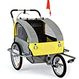 2-in-1 Double 2 Seat Bicycle Bike Trailer Jogger Stroller with Handle Bar and Wheel Bike Hitch Safety Flag, 20 Inch Wheel Size, Foldable Bike Wagon Trailer (Yellow+Grey)