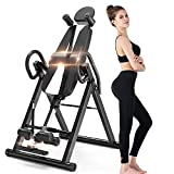 YOLEO Gravity Heavy Duty Inversion Table with Adjustable Headrest & Protective Belt (Black)