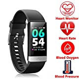 Fitness Tracker, Activity Tracker Watch with Heart Rate MonitorSleep Monitor Blood PressureCall Reminder,IP68 Waterproof Smart Band with Calorie Counter,Pedometer for Kids Men Women and Gift Black