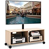 Rfiver Entertainment Center Wood Media TV Stand with Swivel Mount and Rolling Wheels for 32'-65' TVs, Console Storage Cabinet for Gaming Consoles, Xbox, Media Component, Streaming Devices, Oak