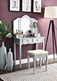 Roundhill Furniture Sanlo Wooden Vanity | Make Up Table and Stool Set | Silver