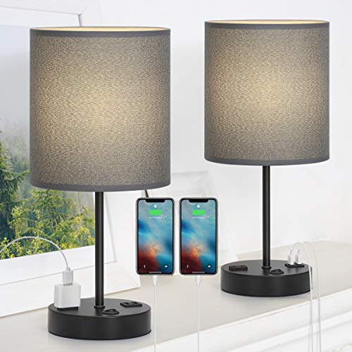 USB Table Lamp, Bedside Table Lamps with 2 USB Charging Ports, Metal...