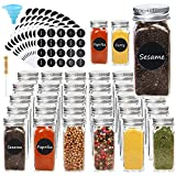CUCUMI 30pcs Glass Spice Jars 4oz Empty Square Spice Bottles Spice Containers with 200pcs Spice Labels 30pcs Shaker Lids, Silicone Collapsible Funnel Test Tube Brush