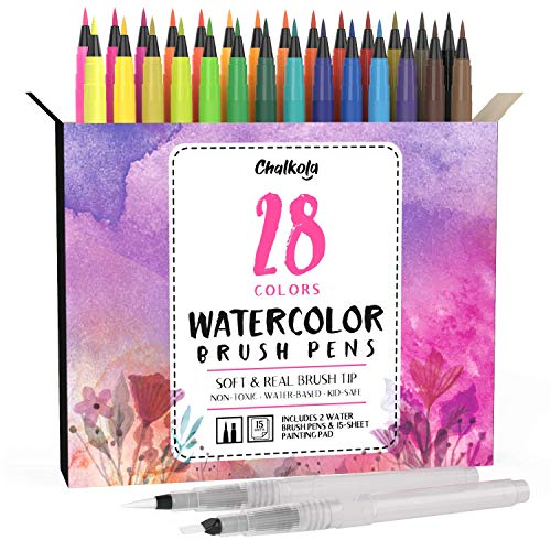 Watercolor Brush Pens   28 Colors with 15-Sheet Watercolor Pad & 2 Blending Brush - Paint Markers for Painting, Coloring, Calligraphy, Drawing for Kids, Artists, Beginner Painters - Real Flexible Tips