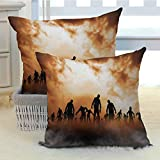 Halloween Premium Pillowcase Zombies Dead Men Walking Body in The Doom Mist at Night Sky Haunted Theme Print Festive Home Decor Cushion Covers for Couch/Bed/Sofa 2PCS - W16 x L16 inch Orange Black
