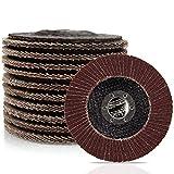 CenterZ 4.5' x 7/8' Flap Discs - 10 Pack Assorted 40 60 Grit Grinding Wheel - T27 Premium Abrasive Flap Sanding Disc Wheels for Power Sander Polisher Grinder (Aluminum Oxide Corundum, Flat Type #27)
