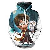 Sudaderas con Capucha Unisex HD 3D Harry Potter Sudaderas Ligeras con Bolsillos (S-4XL), M