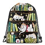 LREFON Library Cats Mochila con cordón Mochila de Gimnasio Mochila de cincha sólida Mochila Sinch Sack Sport String Bag