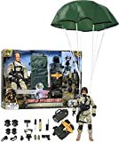 Click N' Play Military Airborne Paratrooper 12'' Action Figure Play Set Accessories