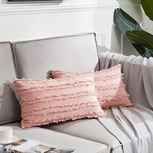 OMMATO Set di 2 Cuscino Copre Caso Striscia di Accento a Cuscino Miglior Decorativi Quadrato Cuscino Copre per Divano Letto Auto 30x50 cmRosa