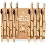 Greenzla Brosses à dents en bambou (Lot de 12)   Brosses à dents en charbon à poils doux   Brosses à dents en bambou naturel et écologique   Brosses à dents en bois biodégradable et 100% biologique
