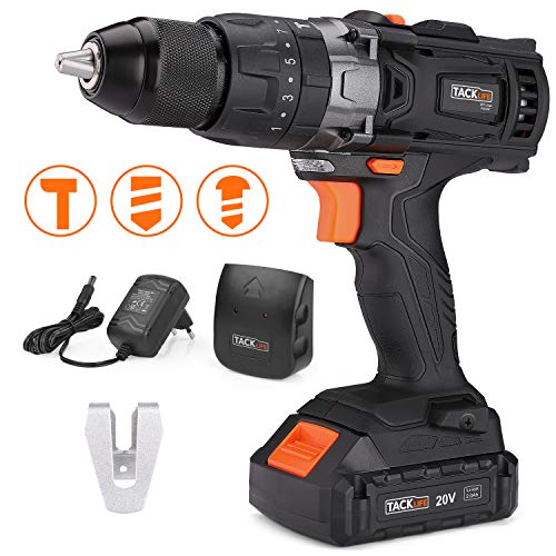 TACKLIFE Cordless Drill 20V Max, 310 In-lbs, 16+3 Position, 2.0Ah Lithium-Ion Battery, 2 Variable Speeds, 1/2' Metal Chuck, impact drill with LED