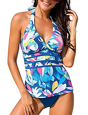 Size Small fits US 4 - US 6, size Medium fits US 8 - US 10, size Large fits US 12 - US 14, size X-Large fits US 16 - US 18, size XX-Large fits US 20 - US 22. This two pieces swimsuit set features a halter tankini top with panel design and a solid bik...