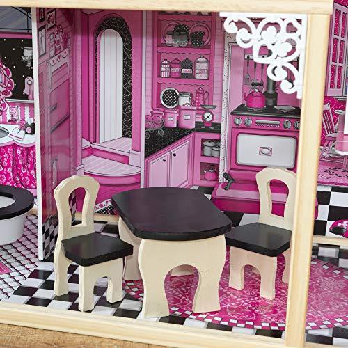 Image 5 - Kidkraft - 65093 - Maison de Poupées en Bois Amelia Incluant Accessoires et Mobilier, 3 Étages de Jeu pour Poupées 30 cm