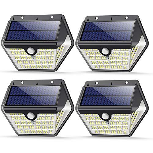 4 PezziLuce Solare Led Esterno, VOO Faretti Solari a 150 LED da Esterno con Sensore di Movimento, 270Illuminazione IP65 Impermeabile,3 Modalit Lampada Solare da Esterno per Giardino,Parete