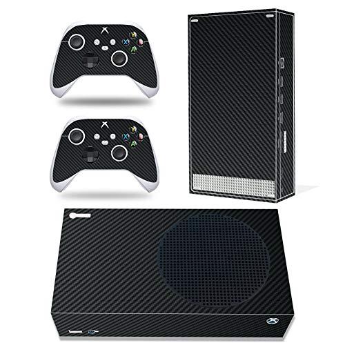Vinyl-Aufkleber für Microsoft Xbox Serie S Konsole, Schwarz Carbonfaser Xbox Serie S Skins Wrap Aufkleber mit zwei kostenlosen kabellosen Controller-Aufklebern