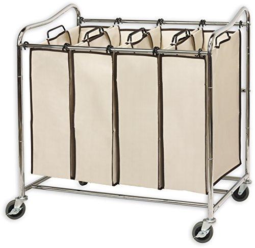 Simplehouseware 4-Bag Heavy Duty Rolling Laundry Sorter...