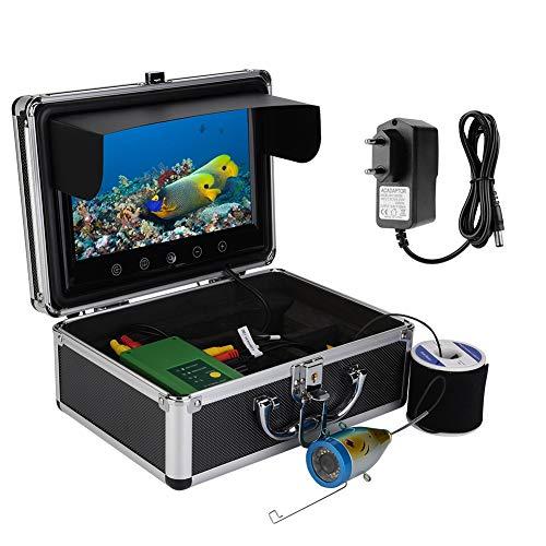 Bewinner Telecamera Portatile per la Pesca Subacquea con Borsa da Trasporto Monitor TFT da 9 Pollici Monitor 30 LED 1000TVL HD Fish Finder Telecamera da Pesca Impermeabile per Pesca in Mare/Fiume(EU)