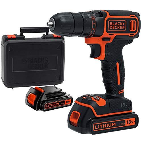 BLACK+DECKER BDCDC18KB-QW Perceuse visseuse sans fil - Chargeur inclus - Livrée en coffret, 18V, Coffret, 2 Batteries