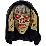 Scary Peeper - Halloween Animated Decoration Prank with Creepy Face, Glowing Red Led Eyes - Funny Motion Activated Gag Prop for Haunted House