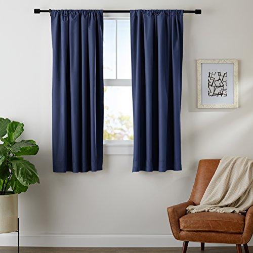Amazon Basics Set de Cortina de oscurecimiento, 132 x 160 cm, Color Azul Marino