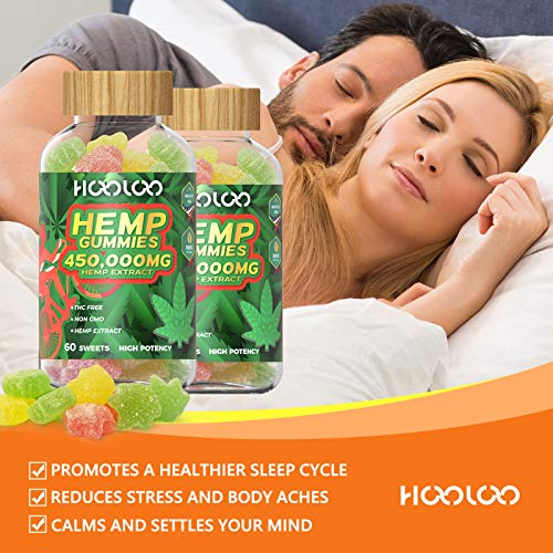 Hemp Gummies - HOOLOO 450,000MG Fruity Hemp Gummy for Relaxing, Reduce Stress Anxiety, Sleep Better - 2 Pack Natural Hemp Extract Gummies - Made in USA 5