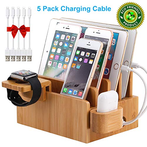 Bamboo Charging Station Organizer for Multiple Devices, Desktop Docking Stations Holder for Cell Phone, Tablet, iWatch, Airpod Charge Stand (Included Watch & Airpod Stand, 5 Cable) (No USB Charger)