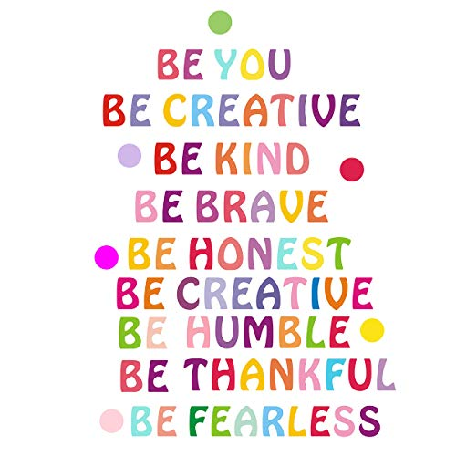 Be Kind Wall Decal Inspirational Be You Quotes Rainbow Inspirational Lettering Quote Be Thankful, Be Brave,Be Creative Classroom Wall Decor Kids Decoration