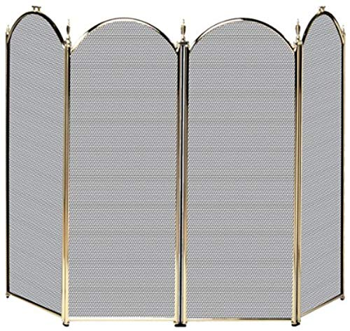 Uniflame, S41010PB, 4 Fold Polished Brass Screen