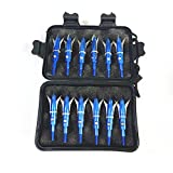 e5e10 12pcs Hunting Broadheads 100 Grain Archery Broadheads New Stell Broadheads + 1 pcs Black Broadhead Case Plastic Portable Case for Arrowheads (Blue)