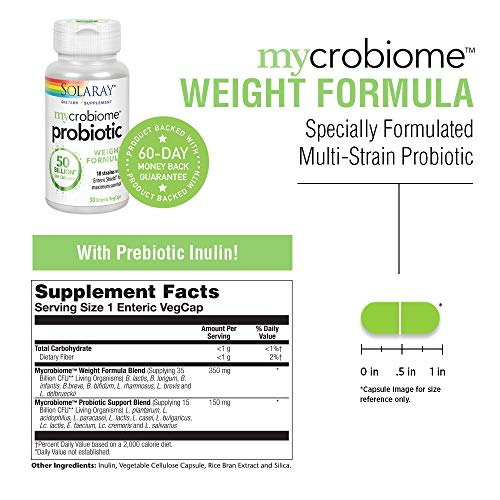 Solaray Mycrobiome Weight Formula   Specially Formulated for Weight Health   Supports Normal Appetite, Energy Levels & More   50 Billion CFU   30 ct 6
