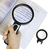 Vive Magnifying Glass with Light (5X and 10X Lens) - LED Magnifier, Handheld - Illuminated Coin, Page Reader - Jewelers Loupe, Loop - Large,Lighted, Big Reading Aid for Pocket Map, Book, Travel