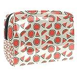 Bolsa de maquillaje portátil con cremallera bolsa de aseo de viaje para las mujeres práctico almacenamiento cosmético bolsa semicircular bloque sandía