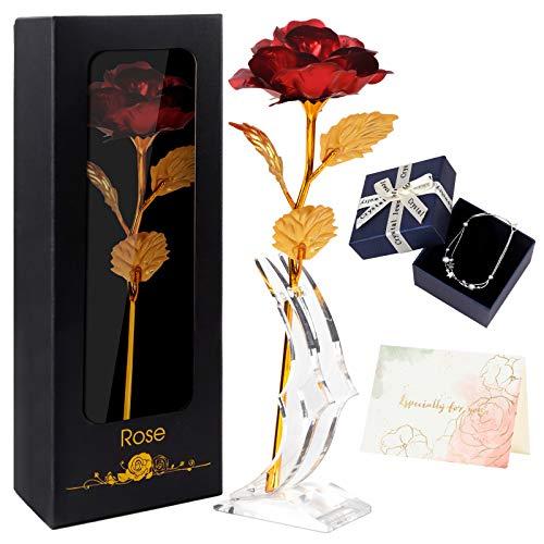 Joyhoop Rosa Eterna, Rosa Cristal con Base y Tarjeta de Feli